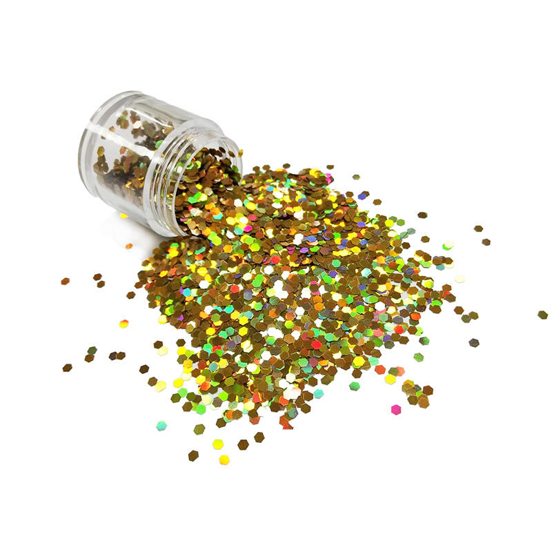 Wholesale bulk glitter powder eco friendly material holographic Gold color LB200