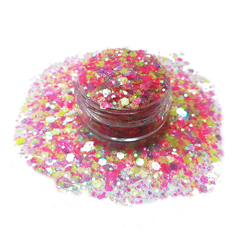 Wholesale multi-color polyester chunky glitter for nail and body decoration