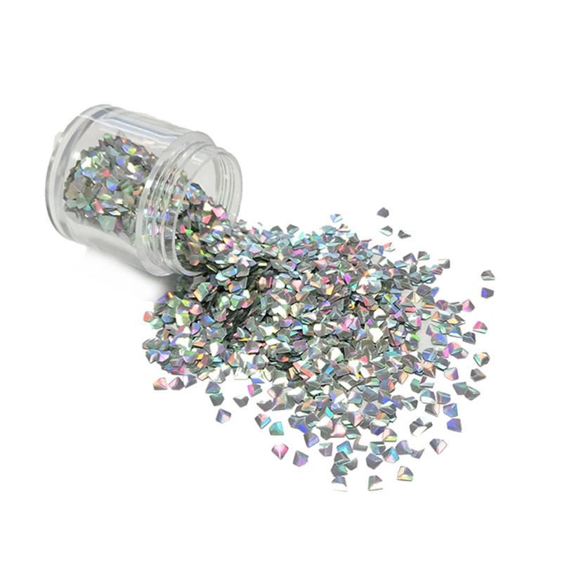 Manufacture Colorful Wholesale 3D Diamond shape glitter powder for Nail Art Makeup XL007D