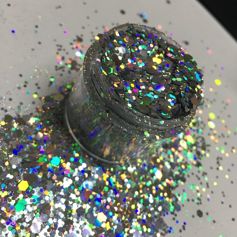 Wholesale Cm Series Chunk, Holographic Shape Glitter Powder Bulk Loose Hexagon Glitter Flake Glitter
