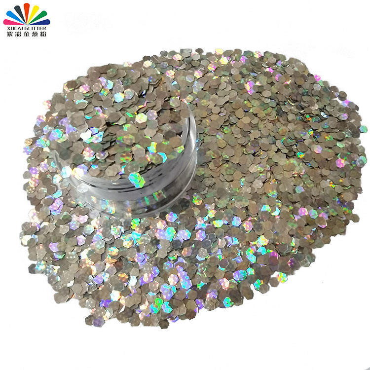 Holographic Glitter Hexagon Shape 3d Nail Powder Glitter for Christmas